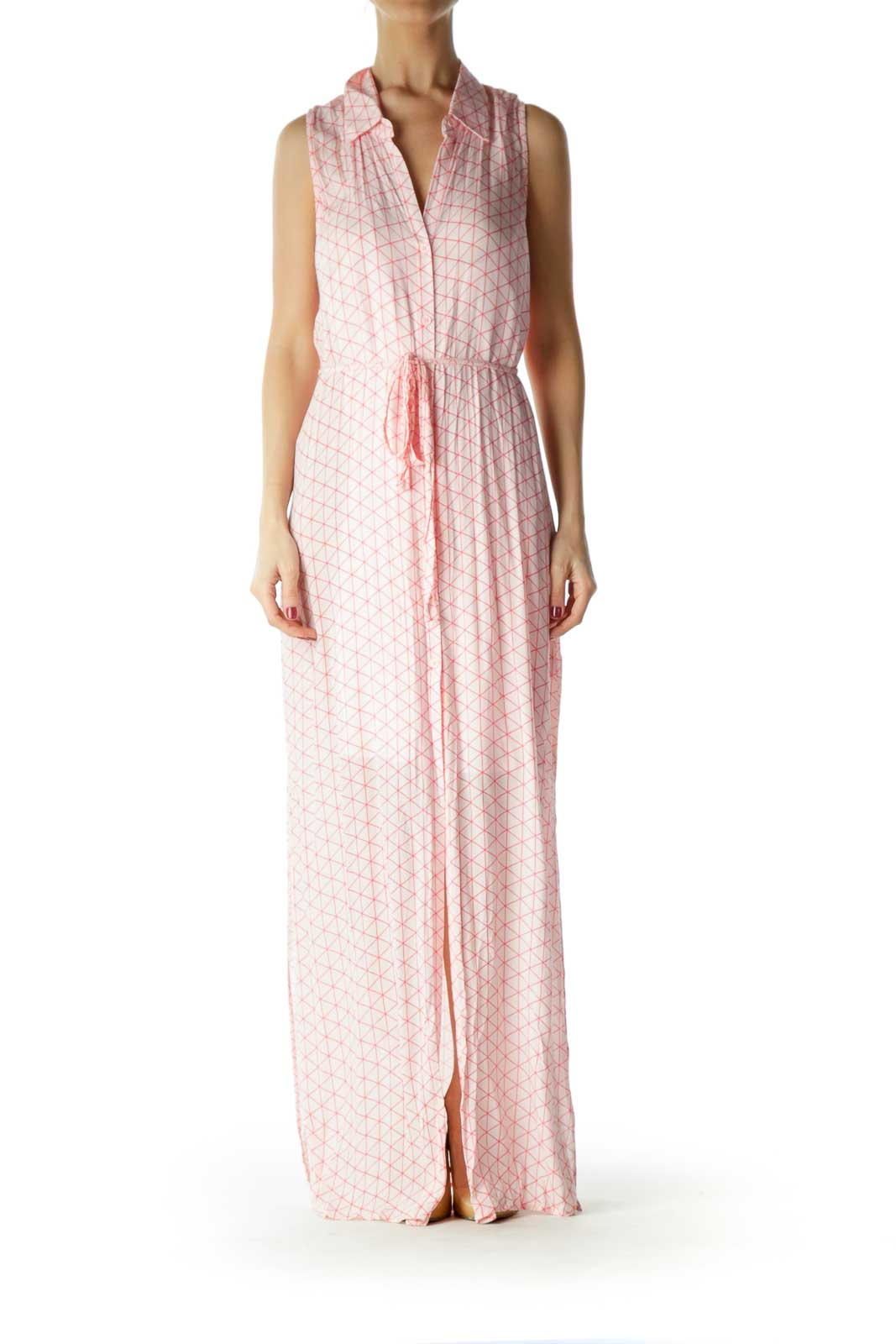 Pink Geometric Print Buttoned Day Dress