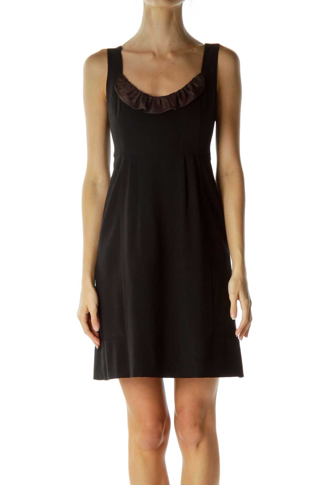 Black Brown Ruffled Round Neck Cocktail Dress