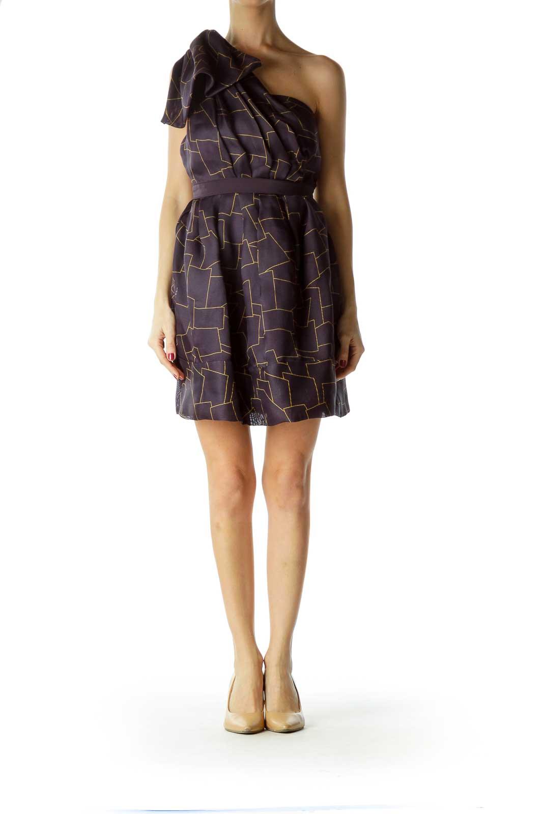 Purple Print One Shoulder Cocktail Dress