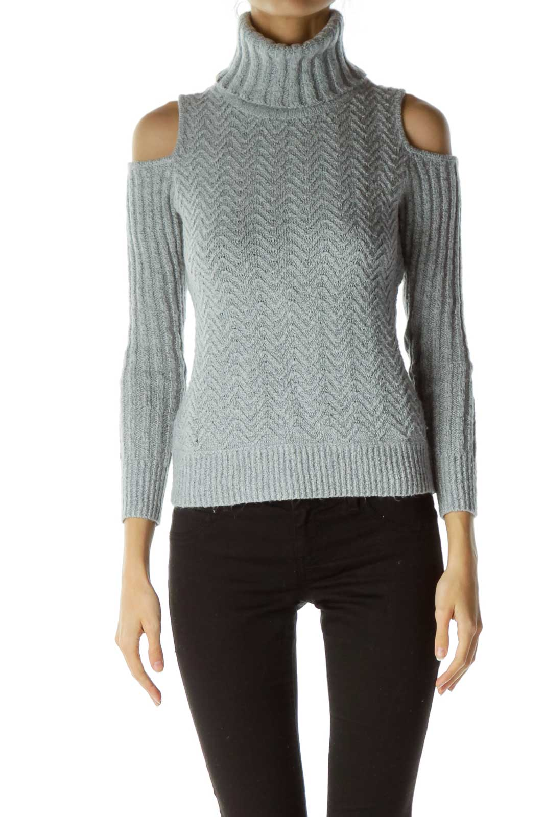Gray Mottled Cowl Neck Cold-Shoulder Sweater