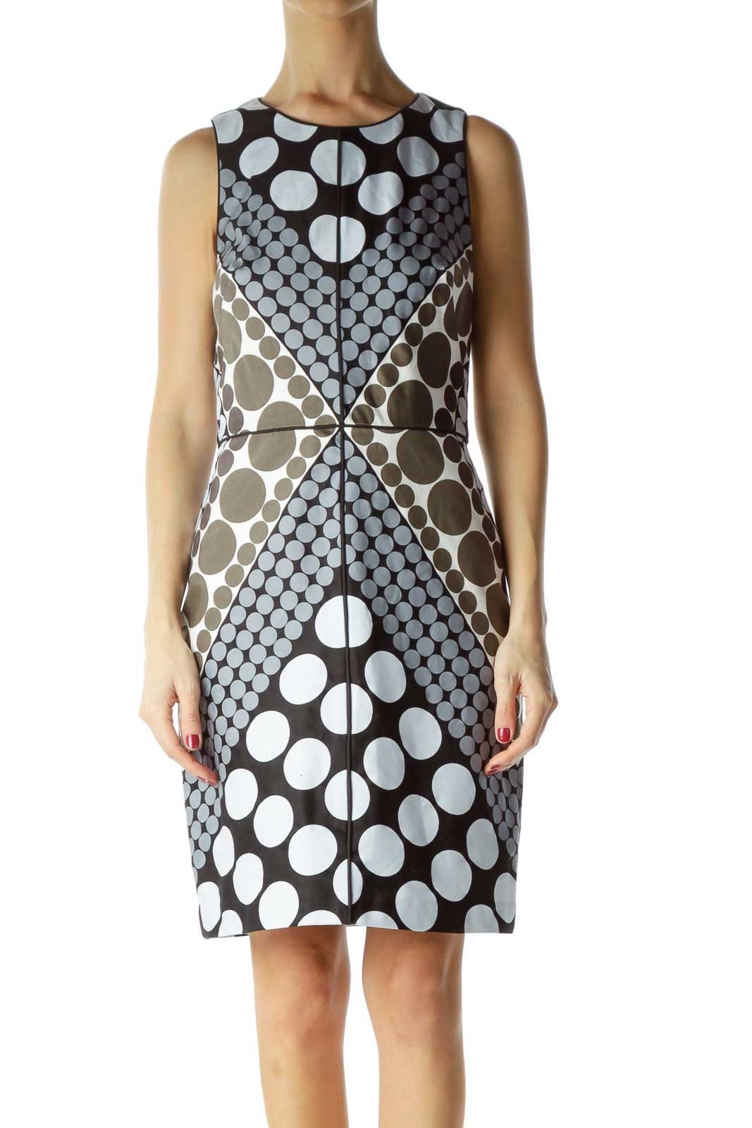 Multicolor Geometric Print Work Dress