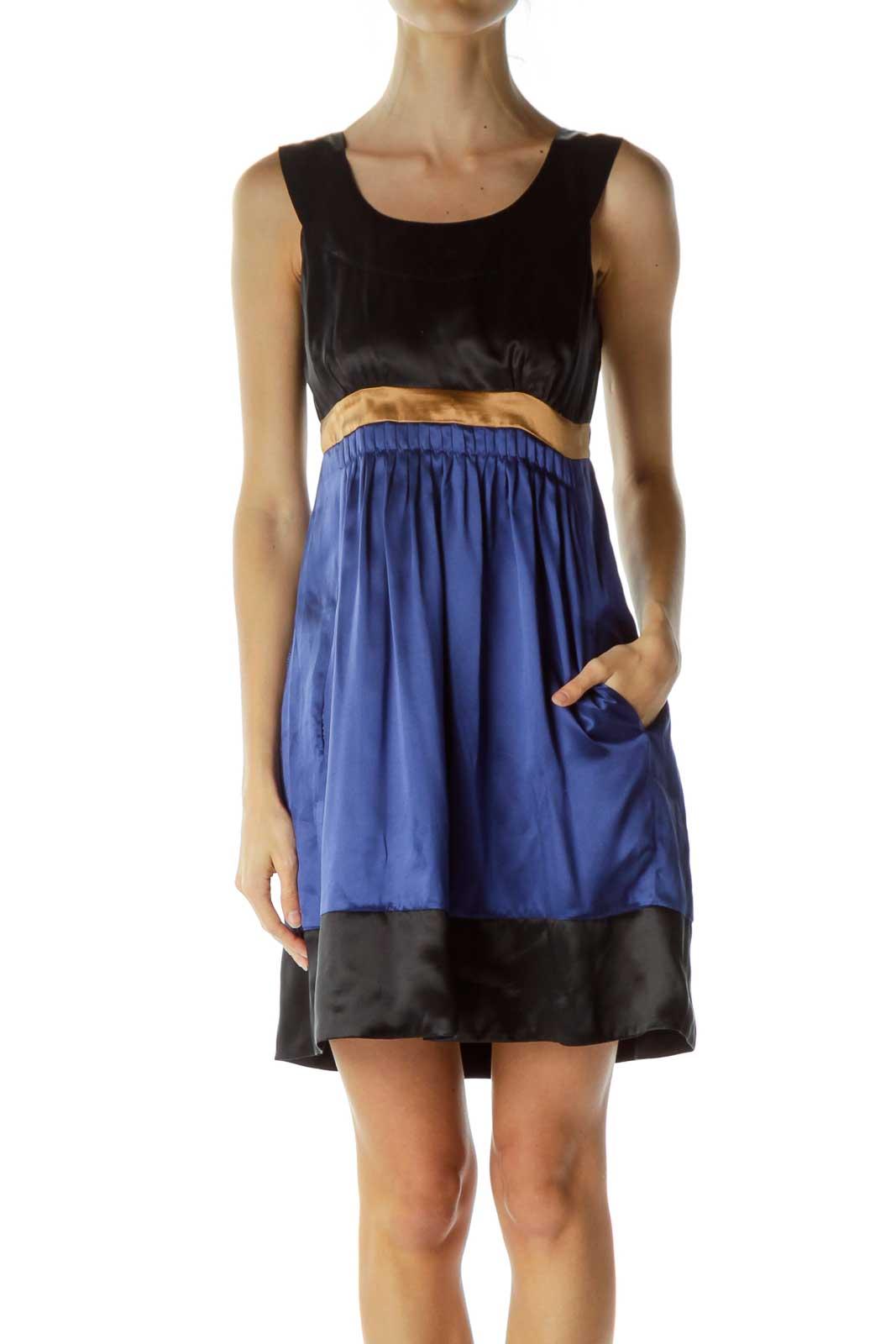 Blue Color Block Silk Empire Waist Dress