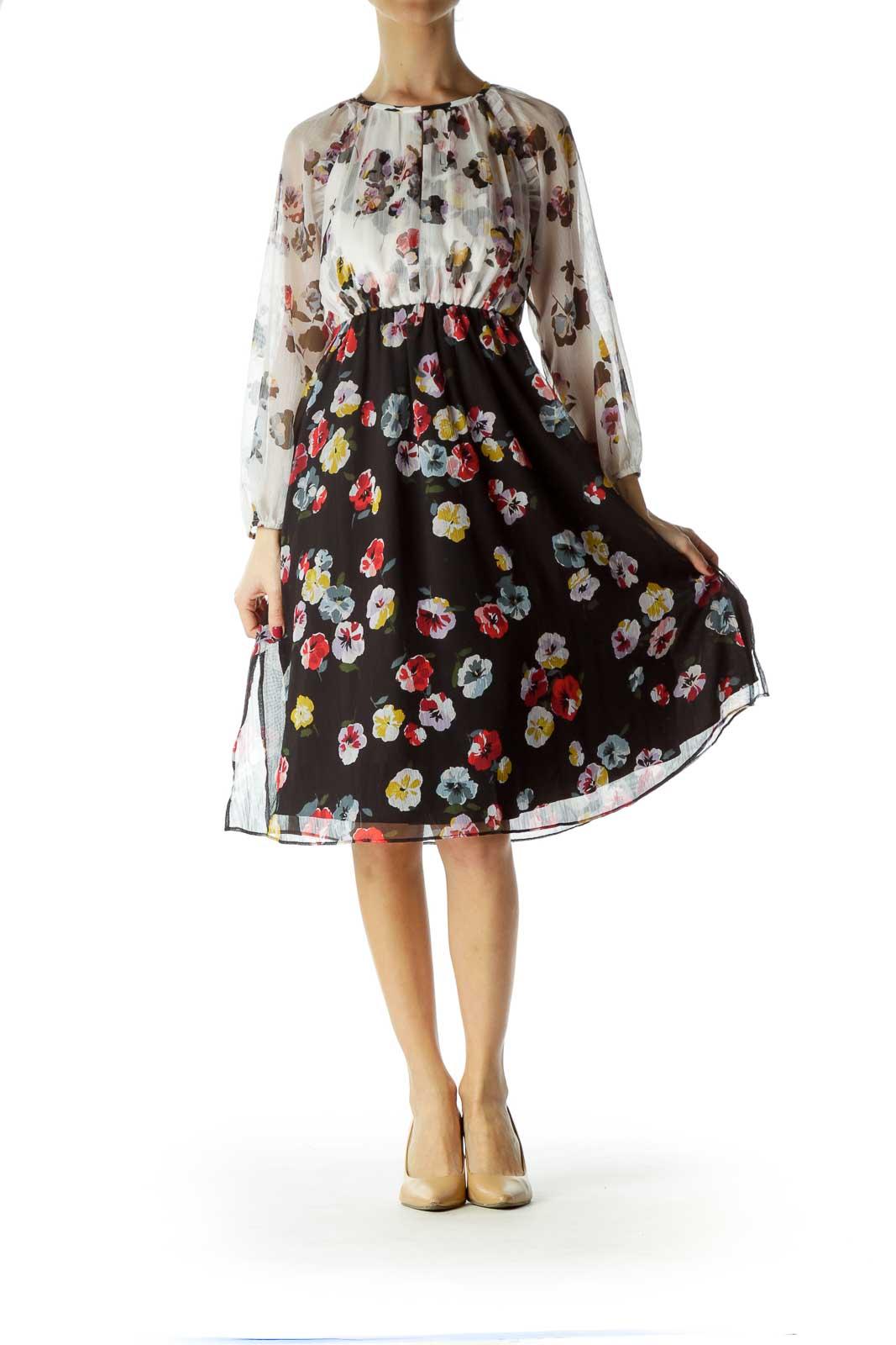 Cream Flower Print Empire Waist Dress
