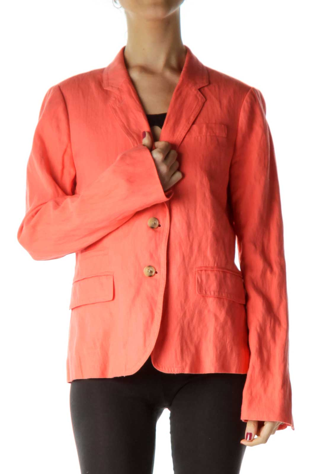 Orange Double Button Blazer