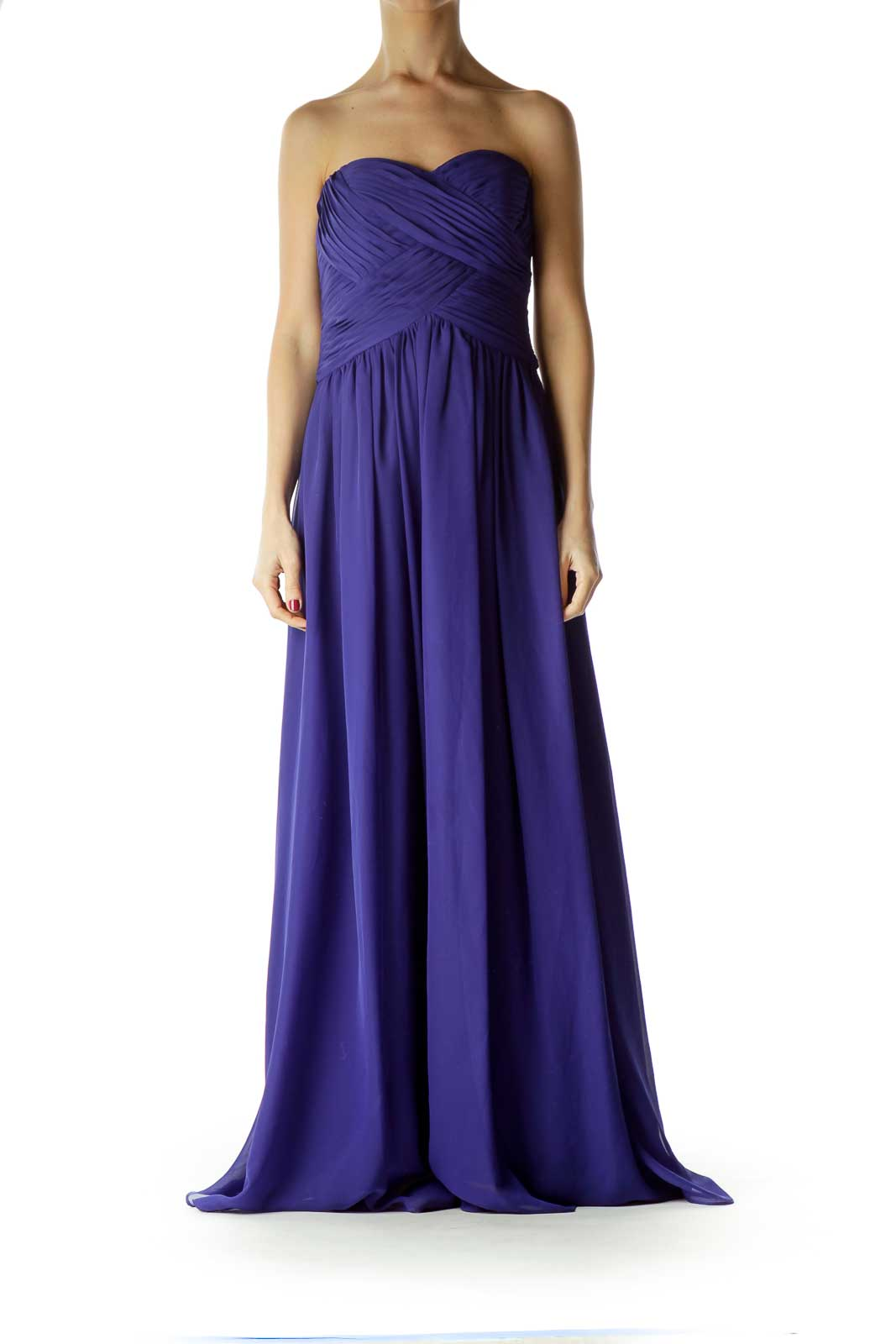 Blue Strapless Empire Waist Evening Dress