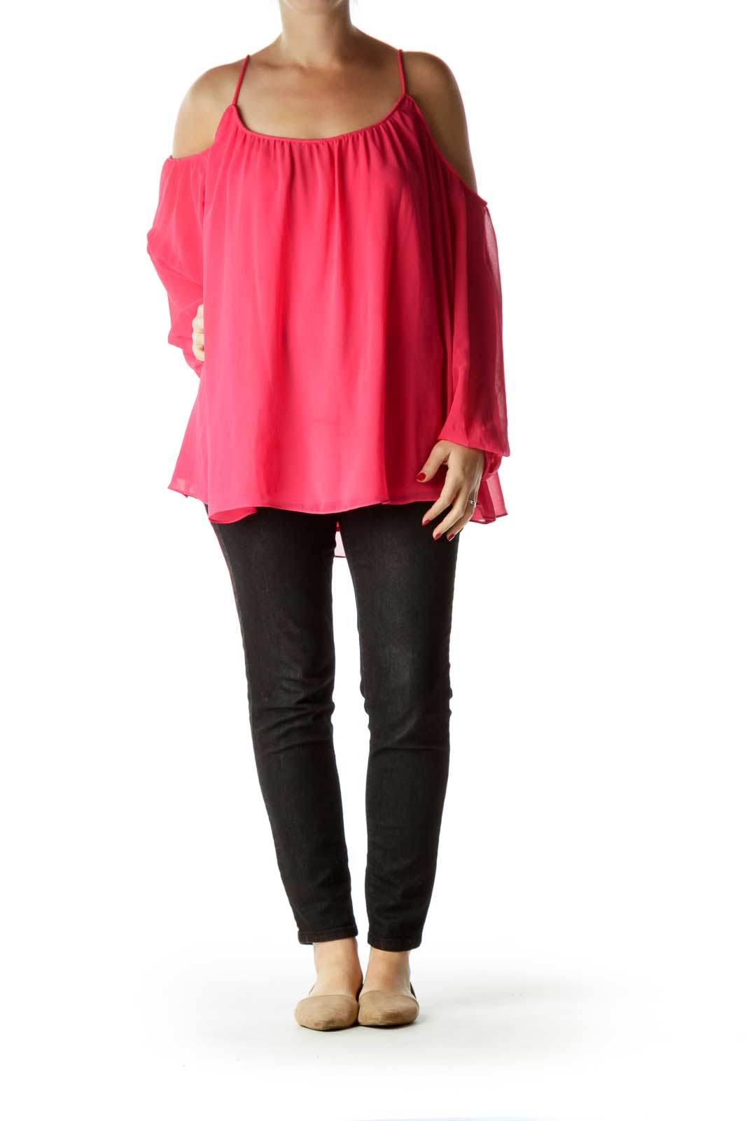 Pink Cold-Shoulder Long Sleeve Blouse