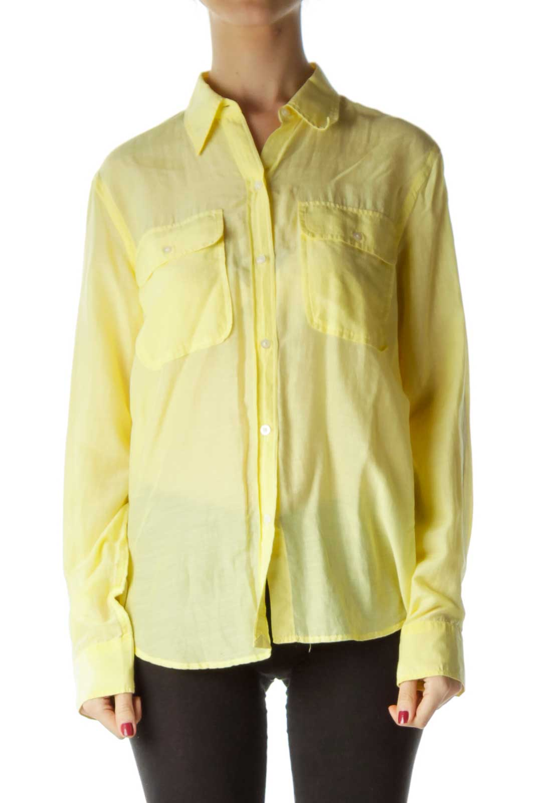 Yellow Buttoned Collared Blouse
