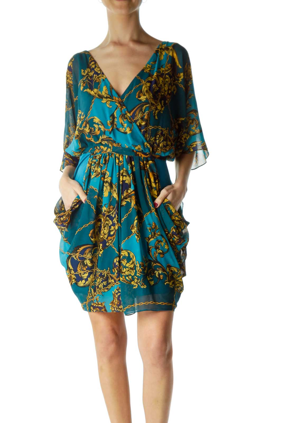 Blue Print Ruffle Belted Dress