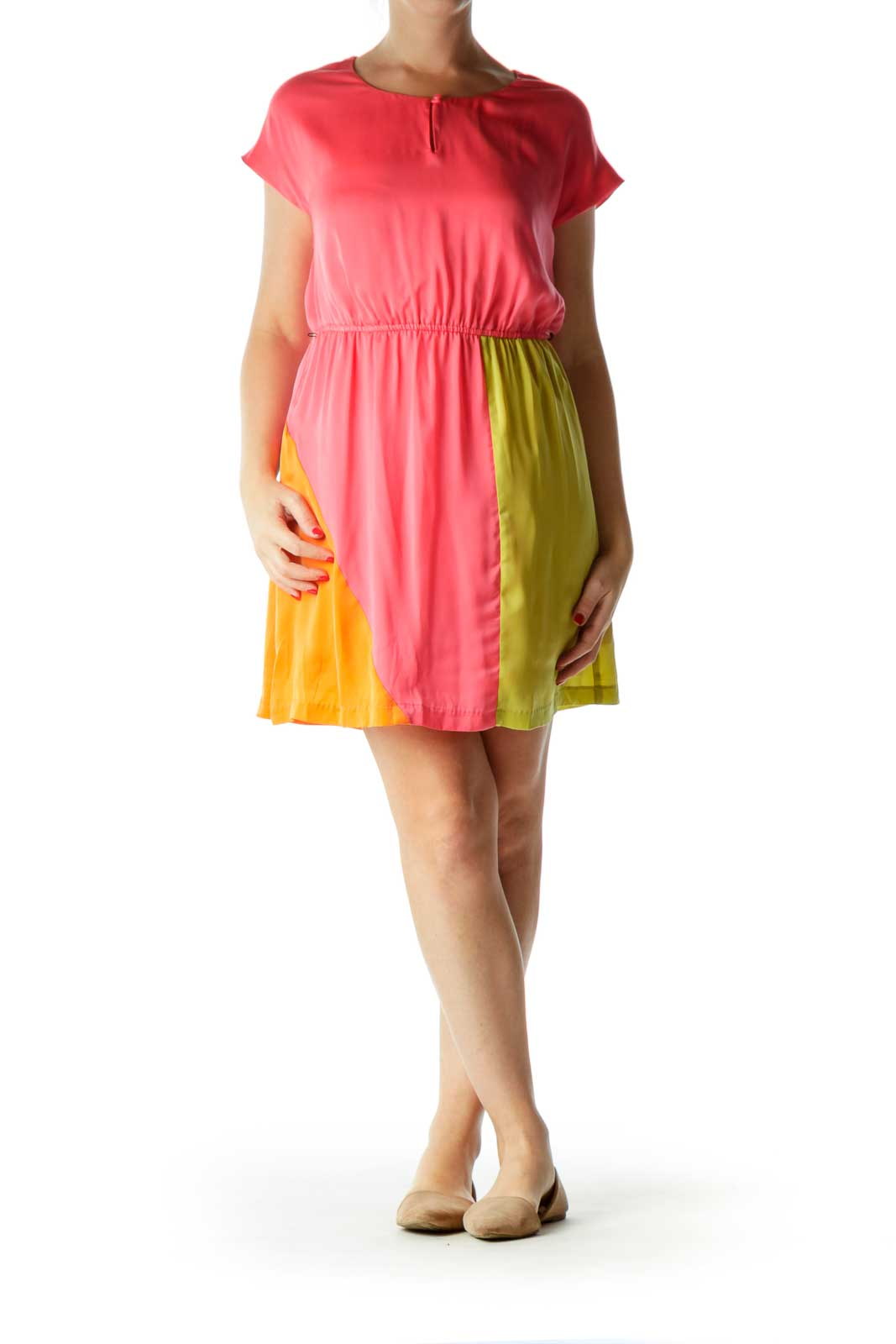 Pink Color Block Day Dress