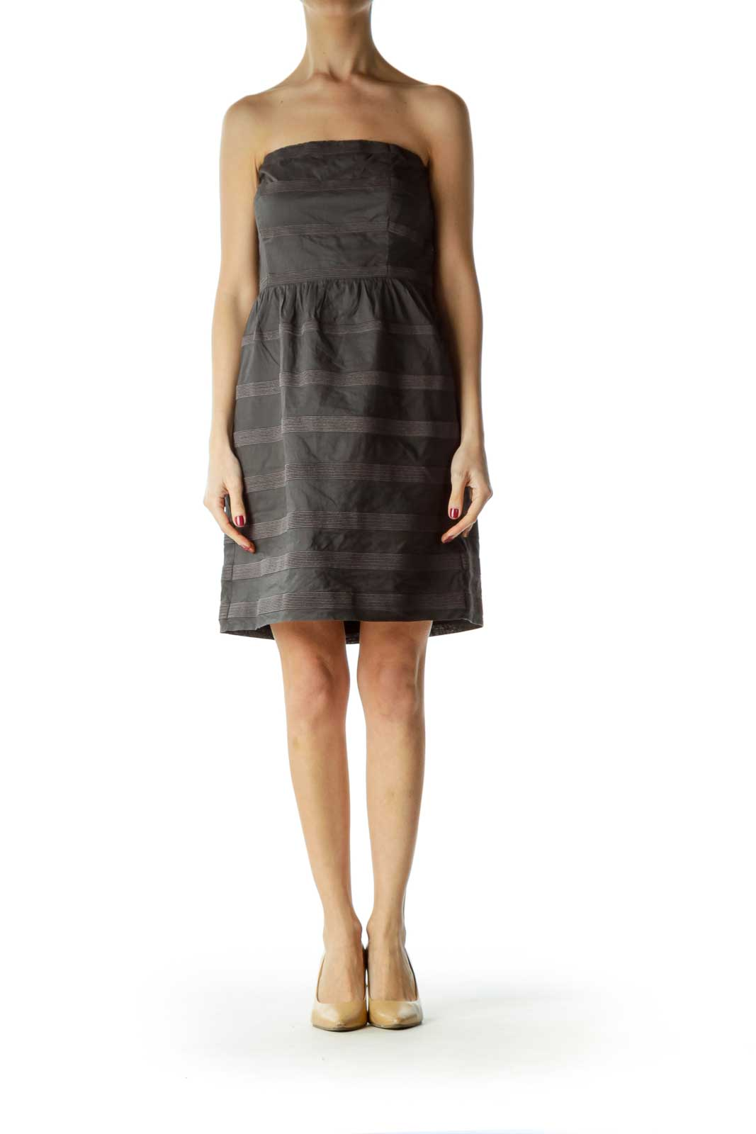 Gray Striped Strapless Dress