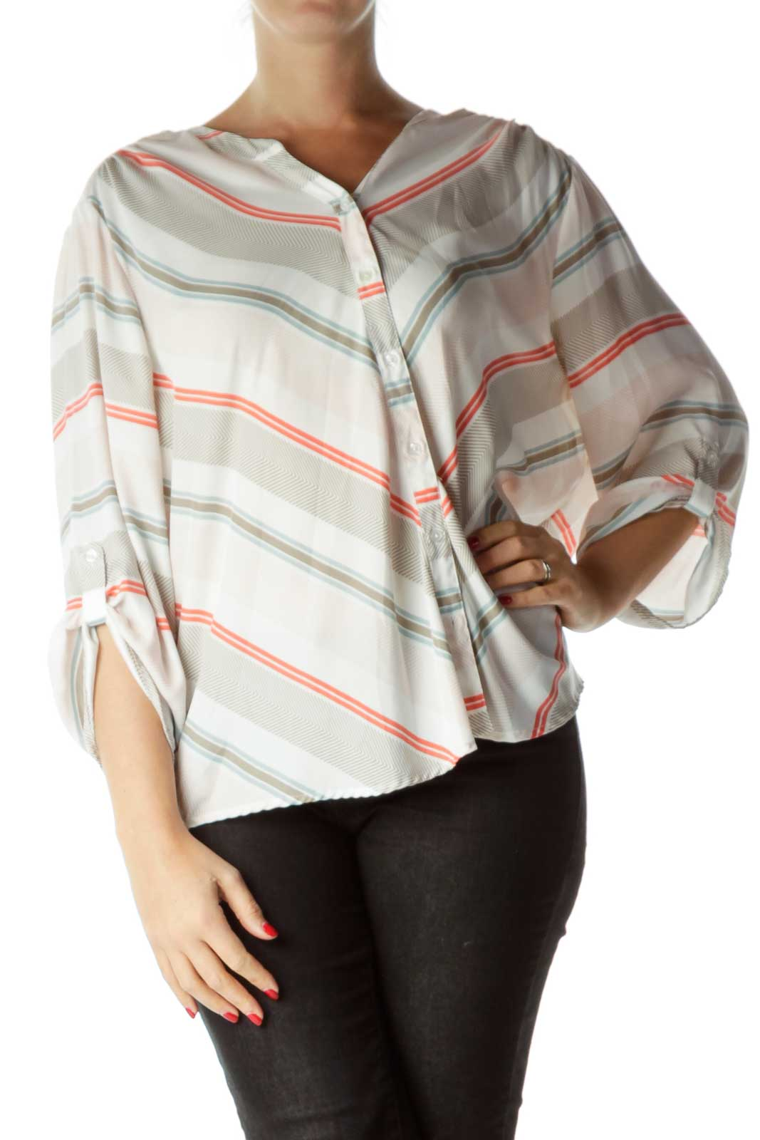 Pink Brown Striped Chevron Print Blouse