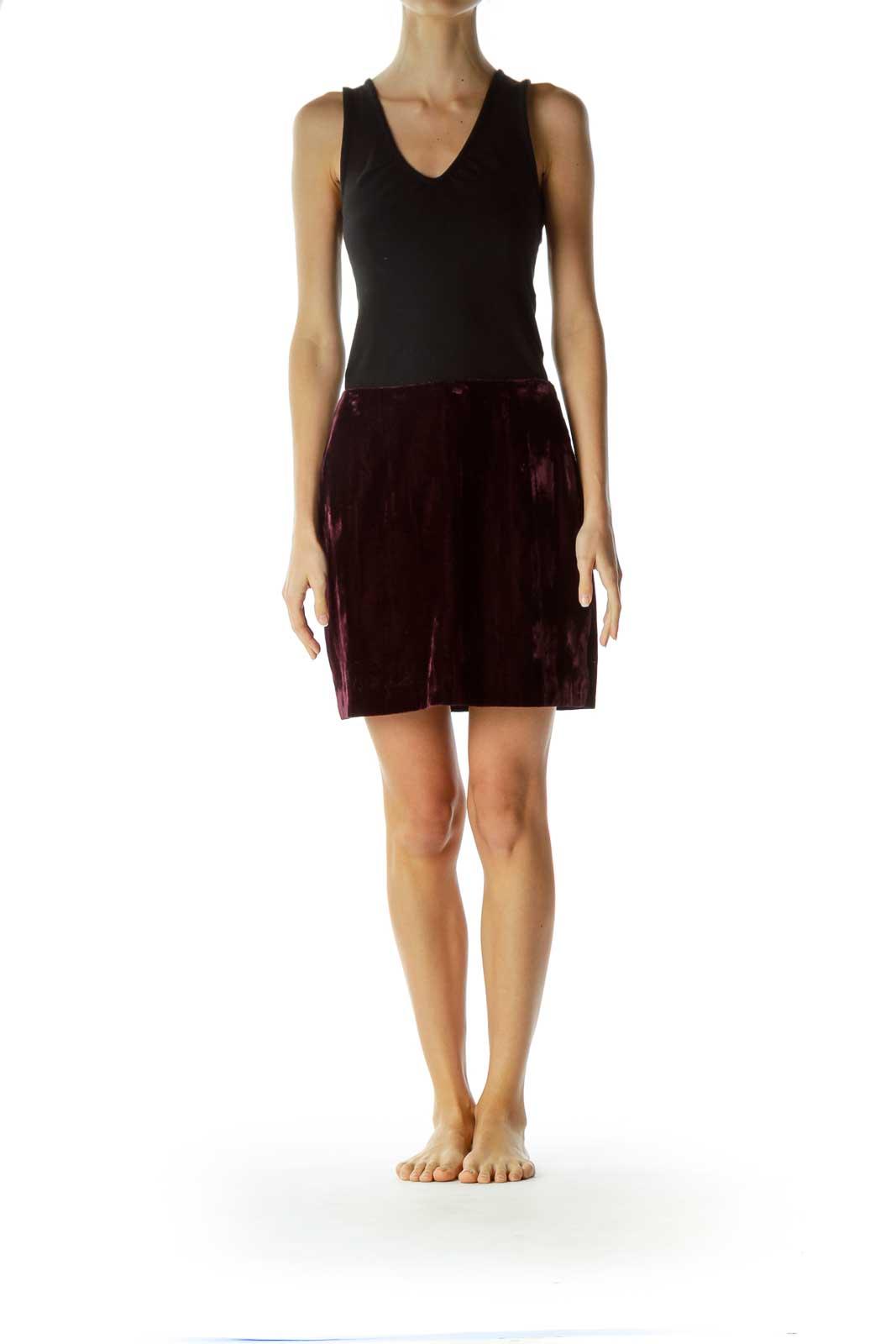 Purple Velvet Mini Skirt