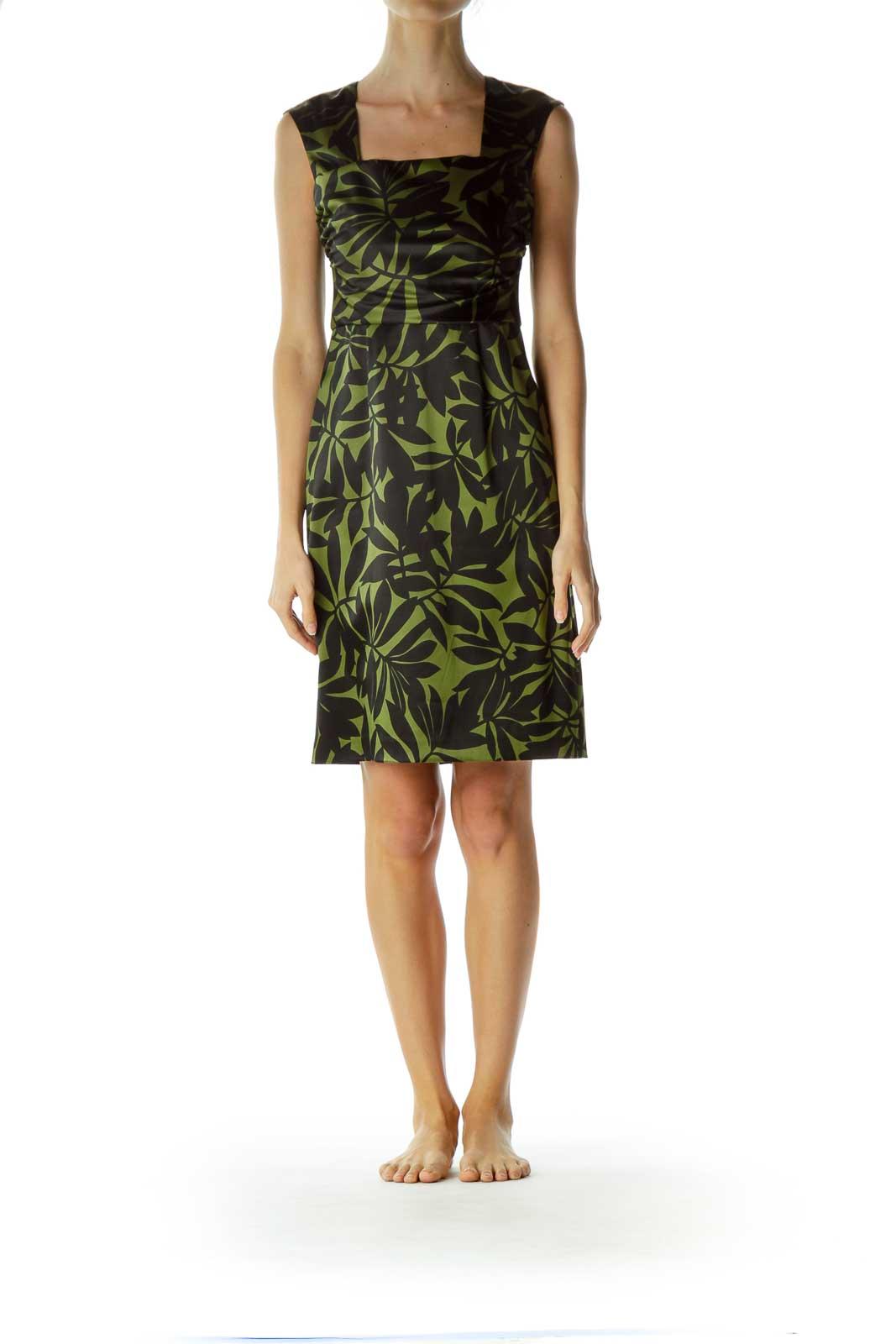 Green Leaf Print Sheath Dress