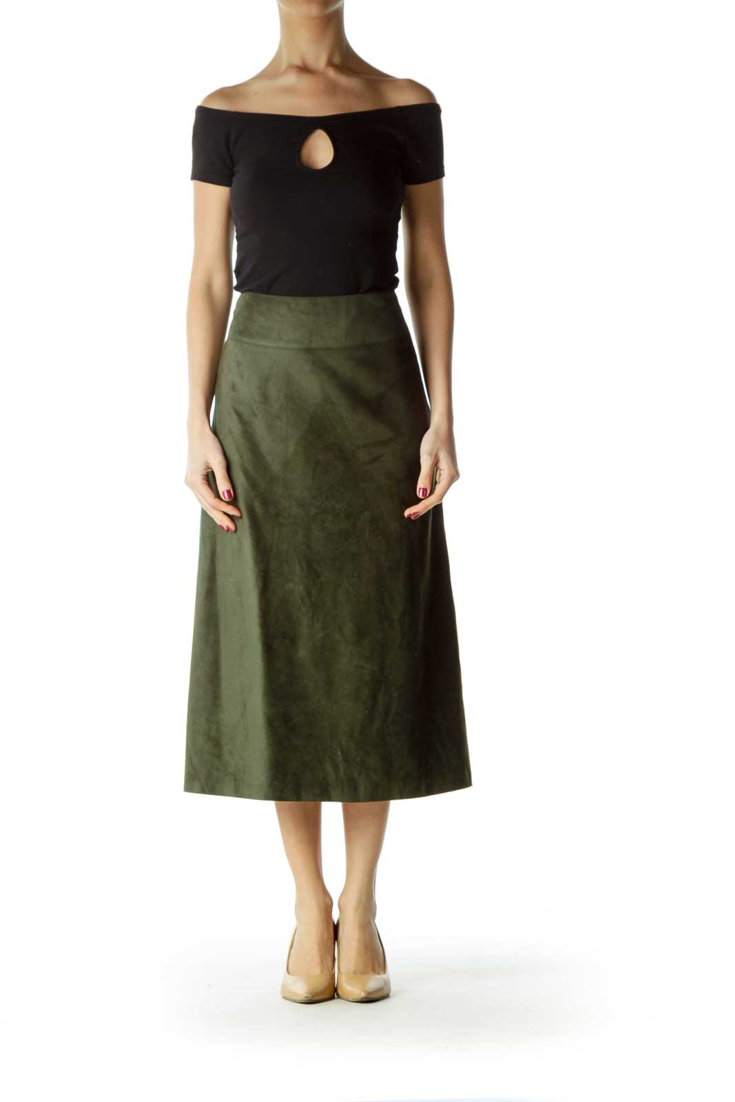 Green Faux Suede Flared Skirt