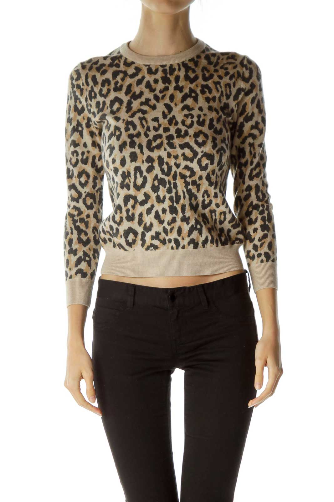 Brown Leopard Print Merino Wool Sweater