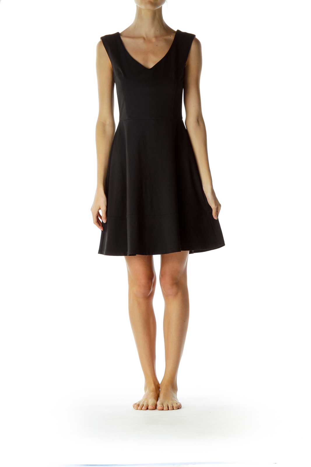 Black V-Neck A-line Dress
