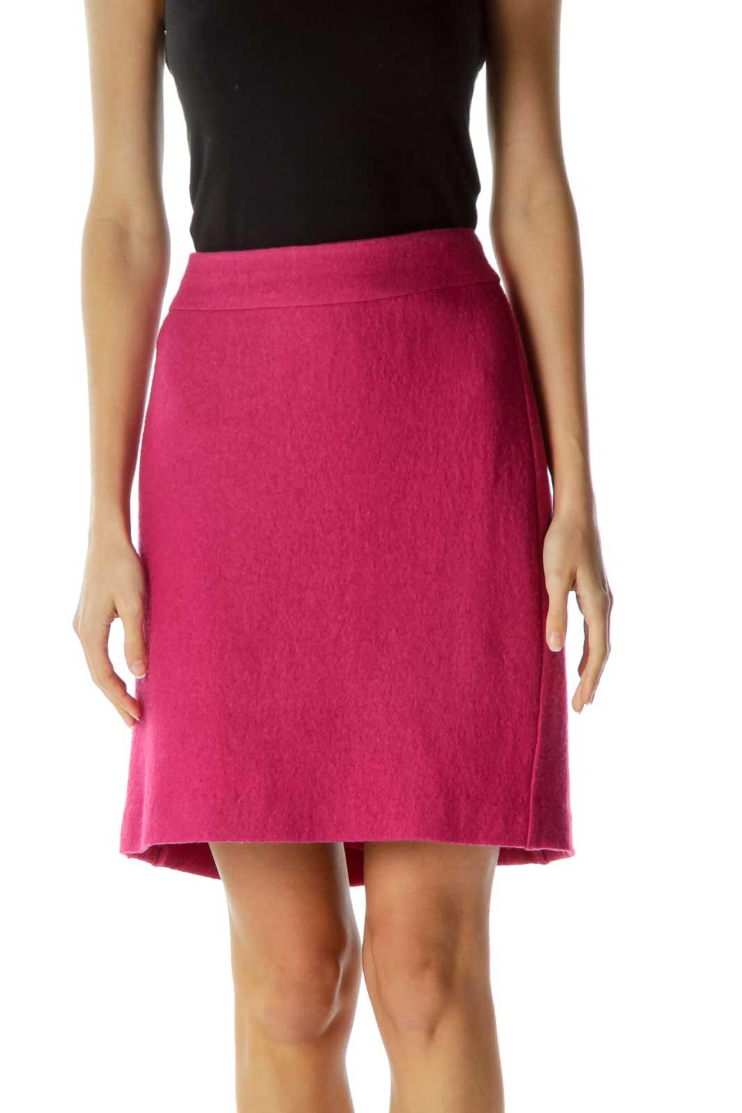 Pink Textured Back Zipper and Slit A-Line Skirt