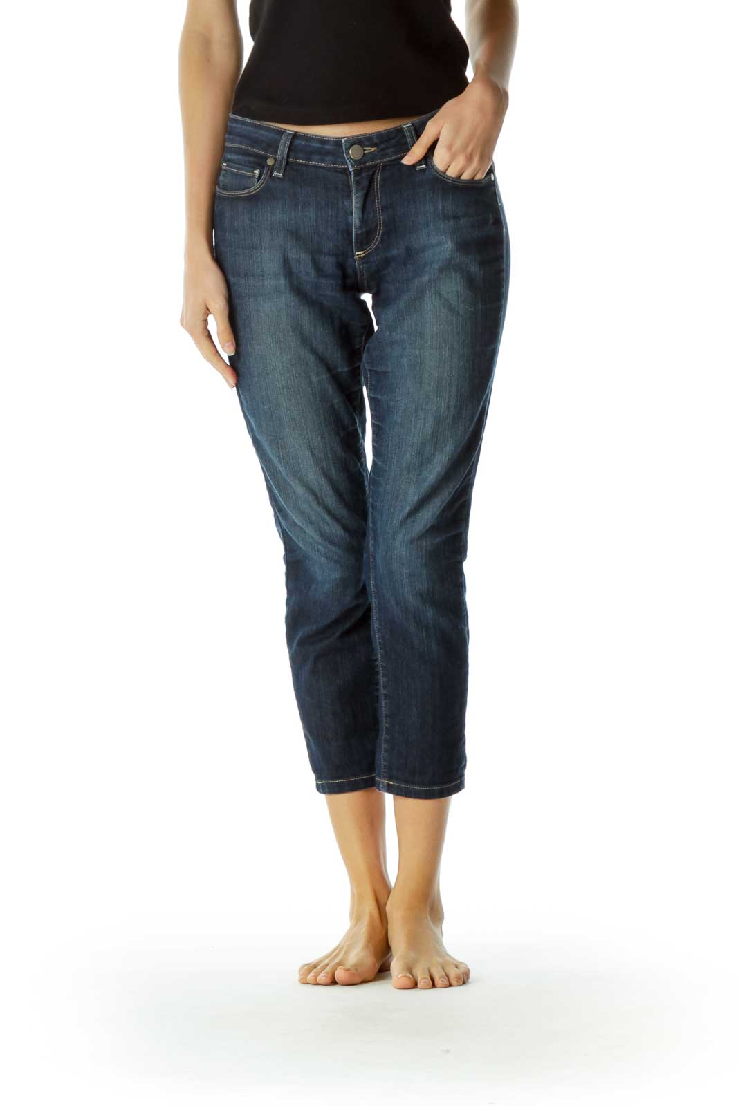 Blue Denim Straight Leg Ankle Pants