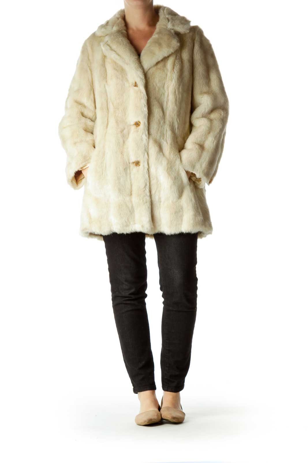 White Fur Single Breasted Coat