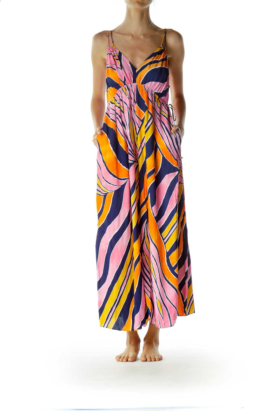 Multicolor Printed Wide-Leg Pocketed Jumpsuit