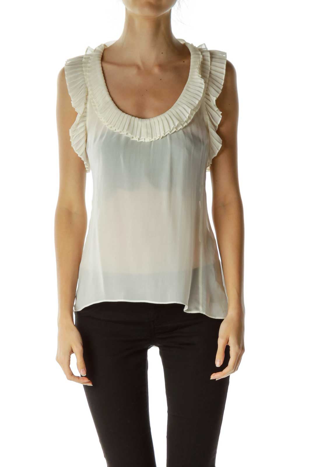Cream 100% Silk Pleated Sleeveless Blouse