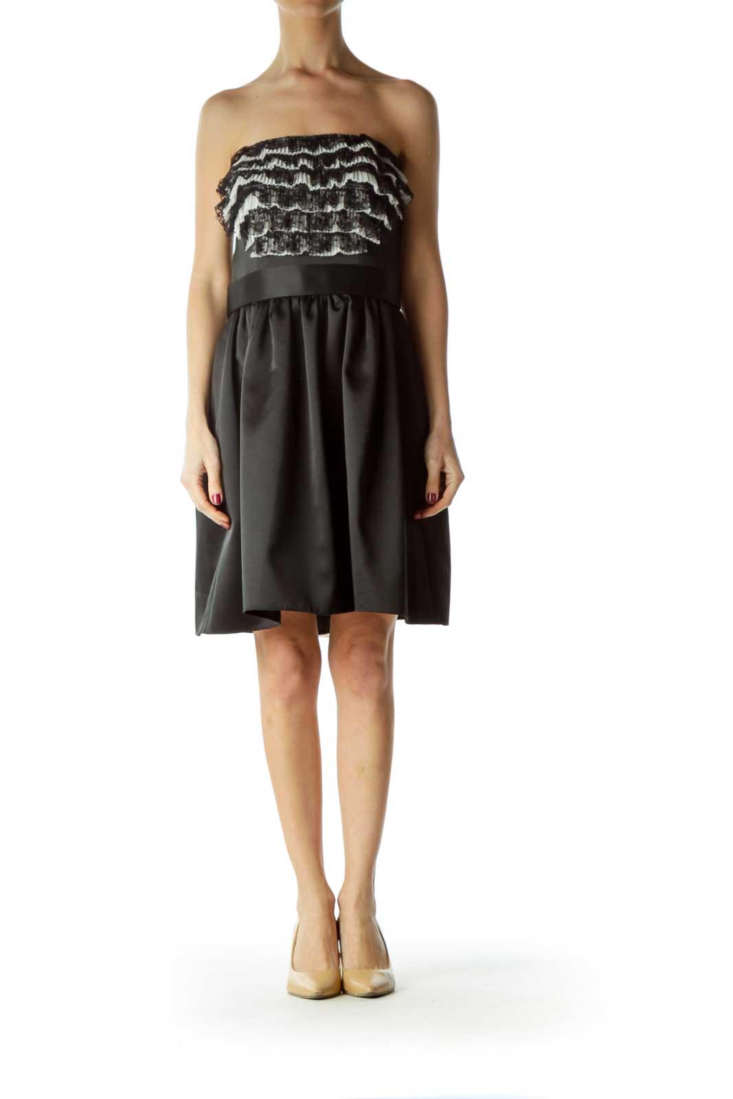 Black Chest Ruffled Strapless Cocktail Dress