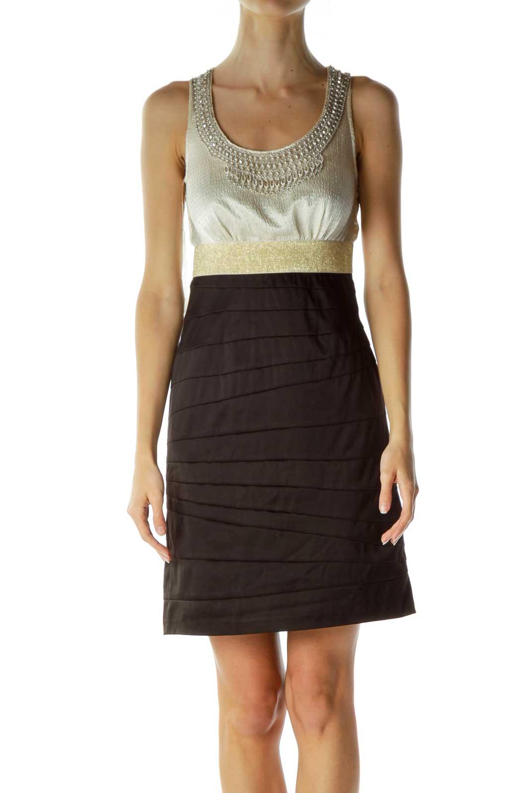 Black Beige Sheath Dress with Beaded Neckline