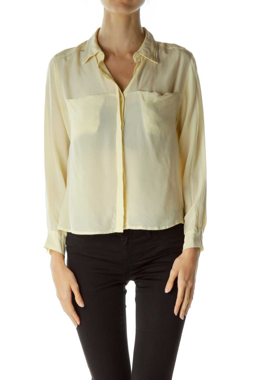 Yellow Gold Collared Long Sleeve Blouse