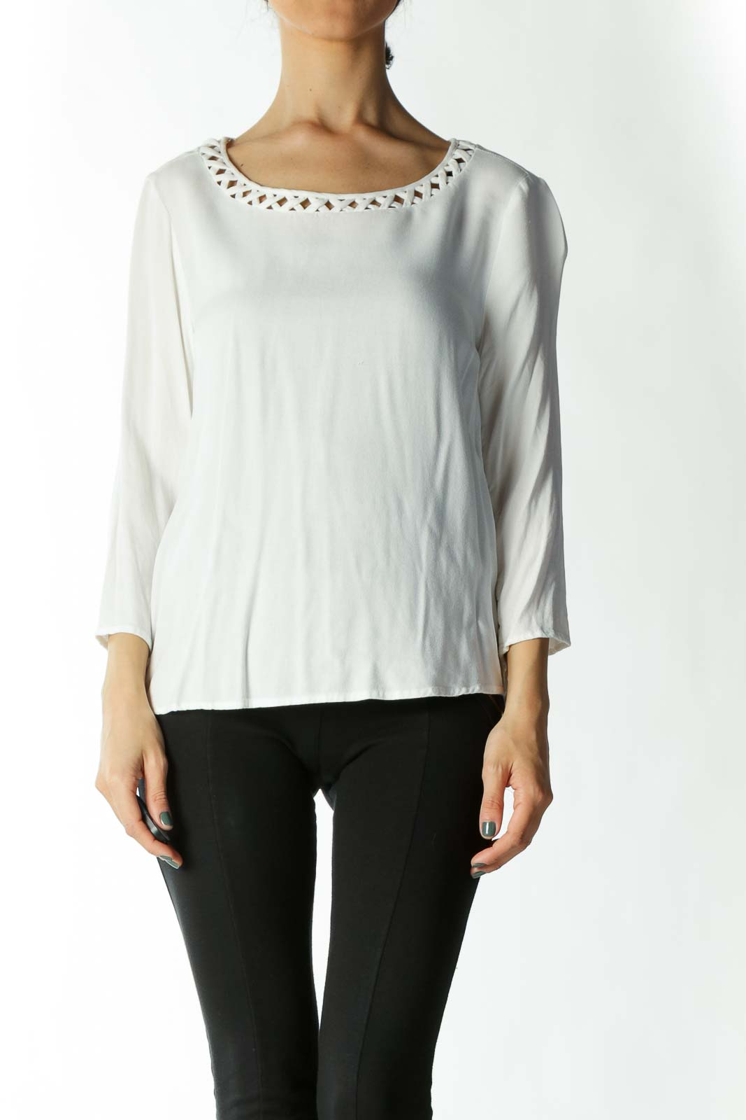 White Round Neck Crocheted Blouse