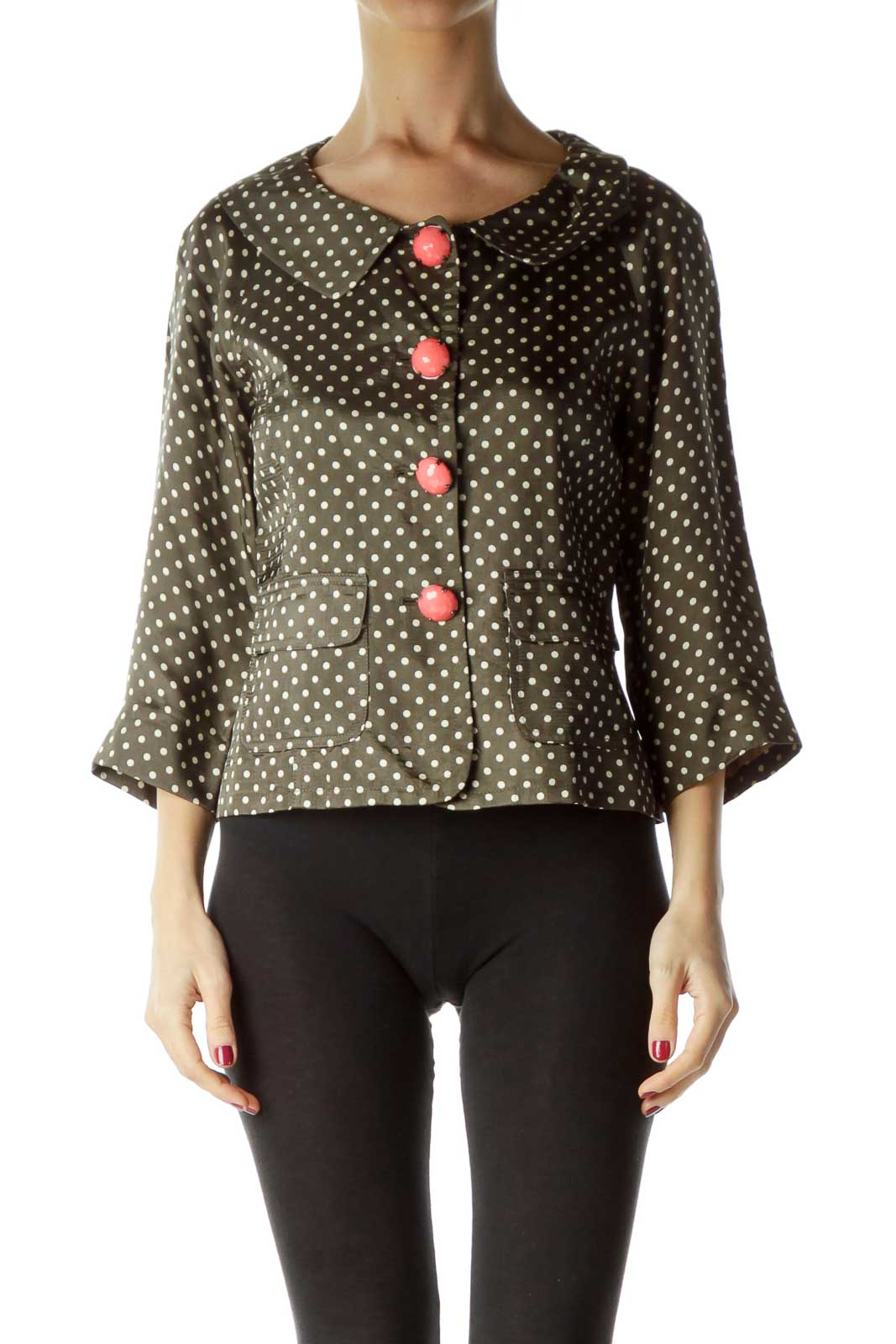 Green White Polka Dot Buttoned Jacket