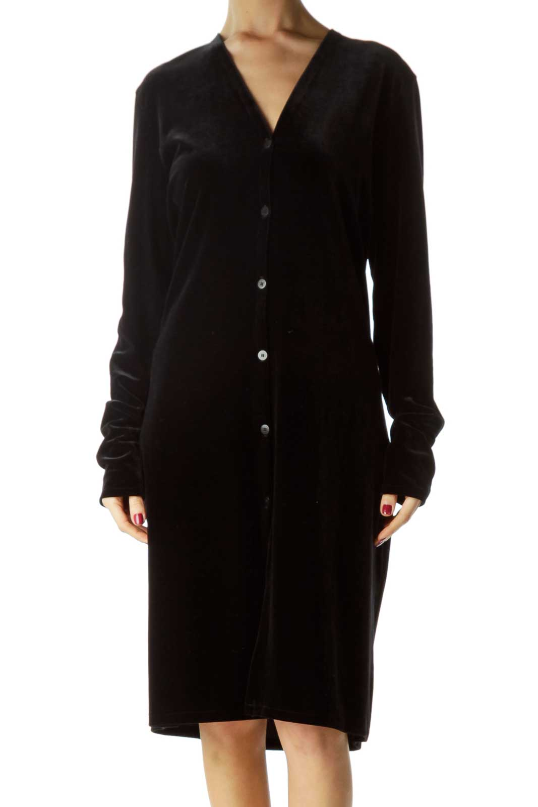 Black Velvet Shirt Dress