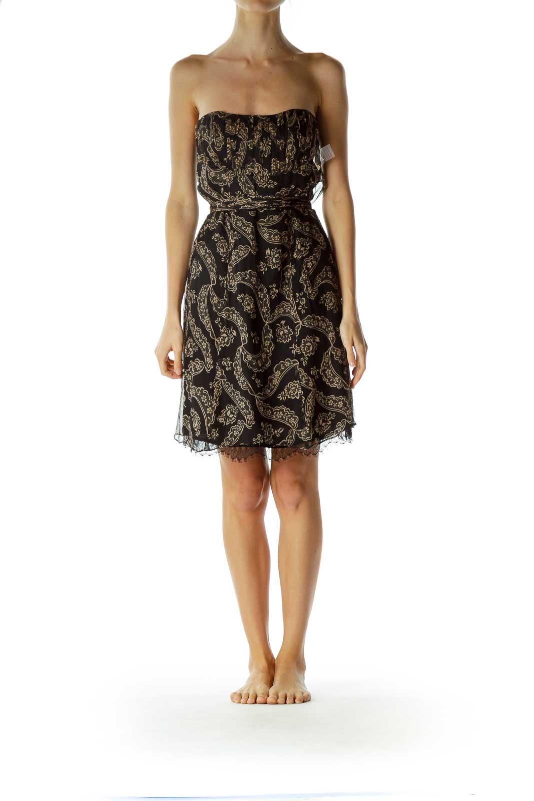 Black Beige Print Silk Strapless Dress
