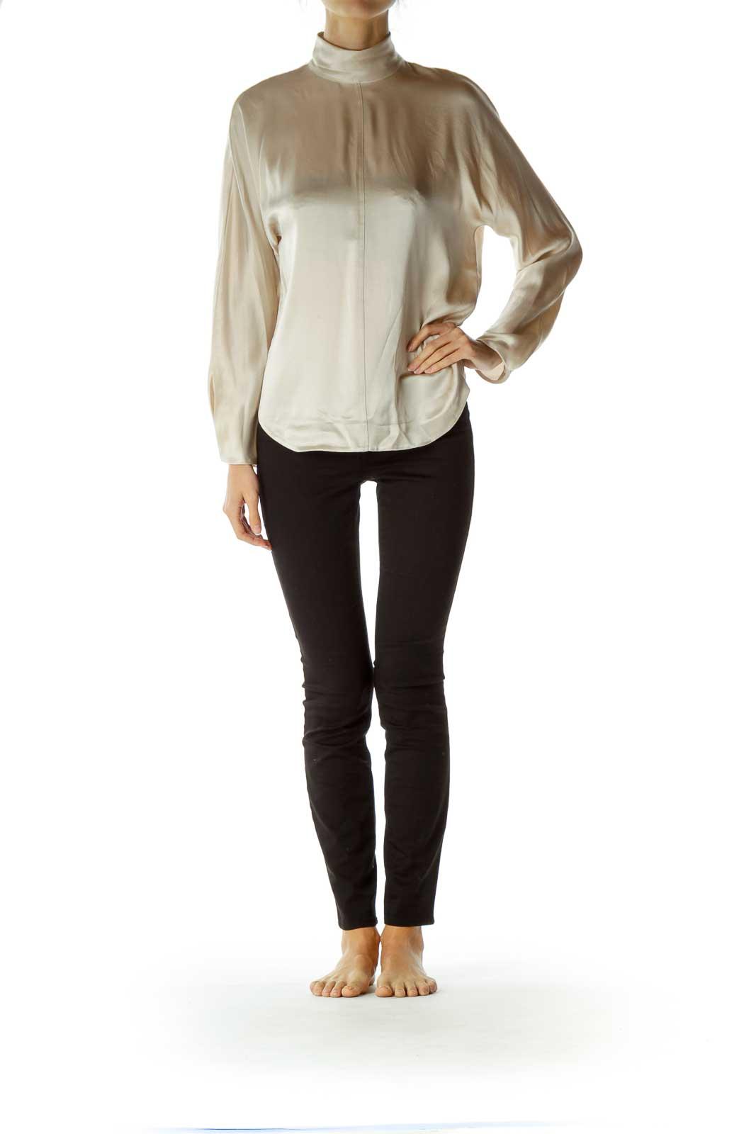 Beige 100% Silk Shiny Long Sleeve Shirt