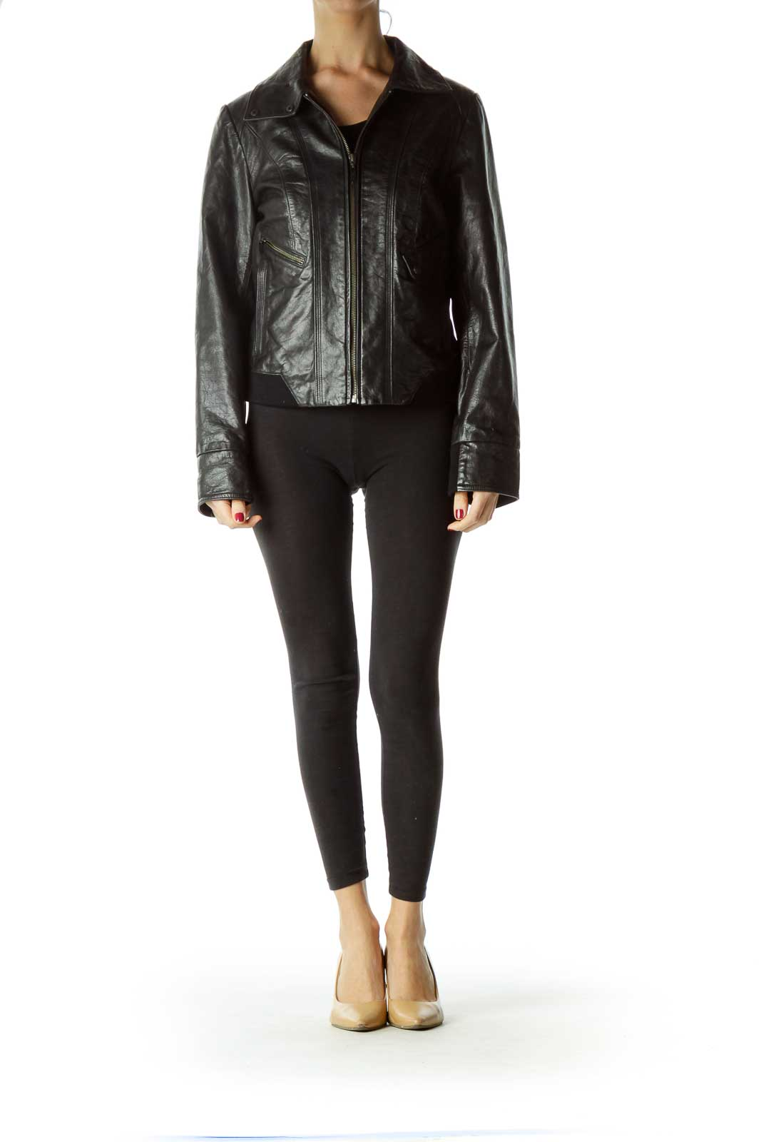 Black Zippered Leather Jacket with Pockets