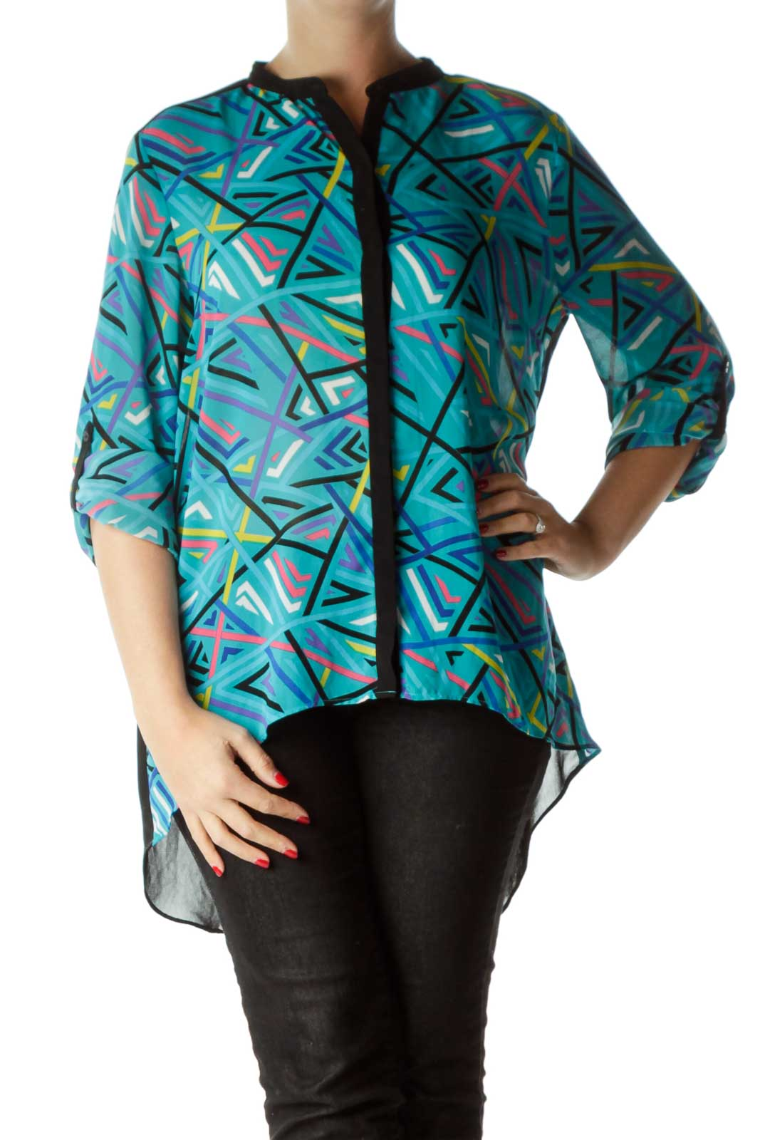 Multicolored Printed Buttoned High-Low Shirt