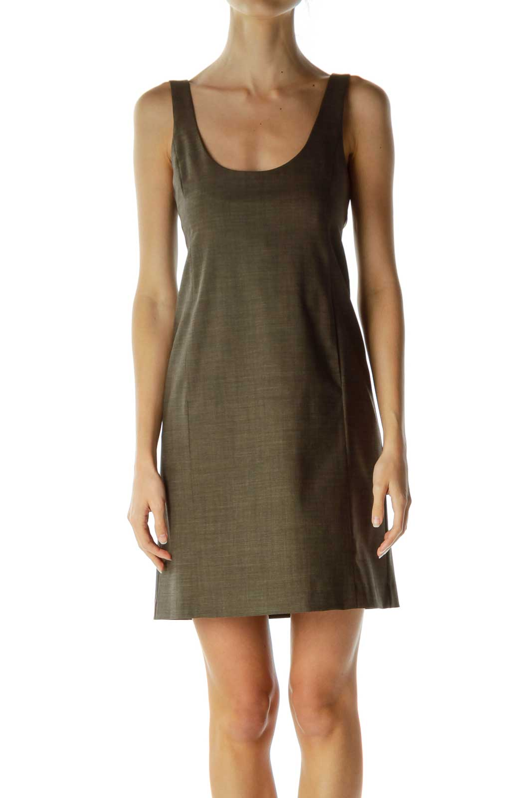Green Wool Strapless Dress
