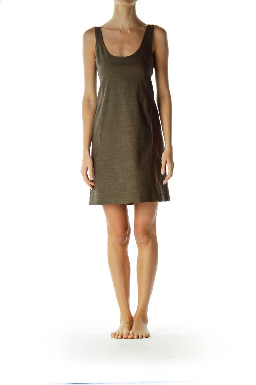 Green Wool Strapless Dress