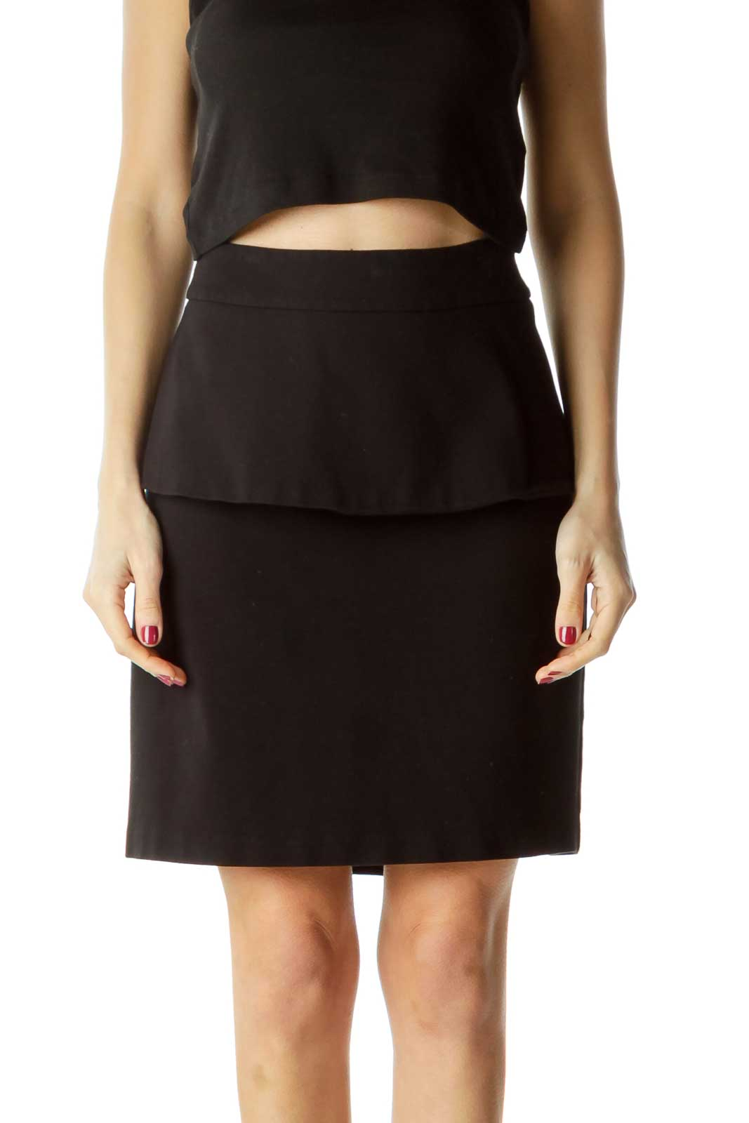 Black Flared Slitted Flared Skirt
