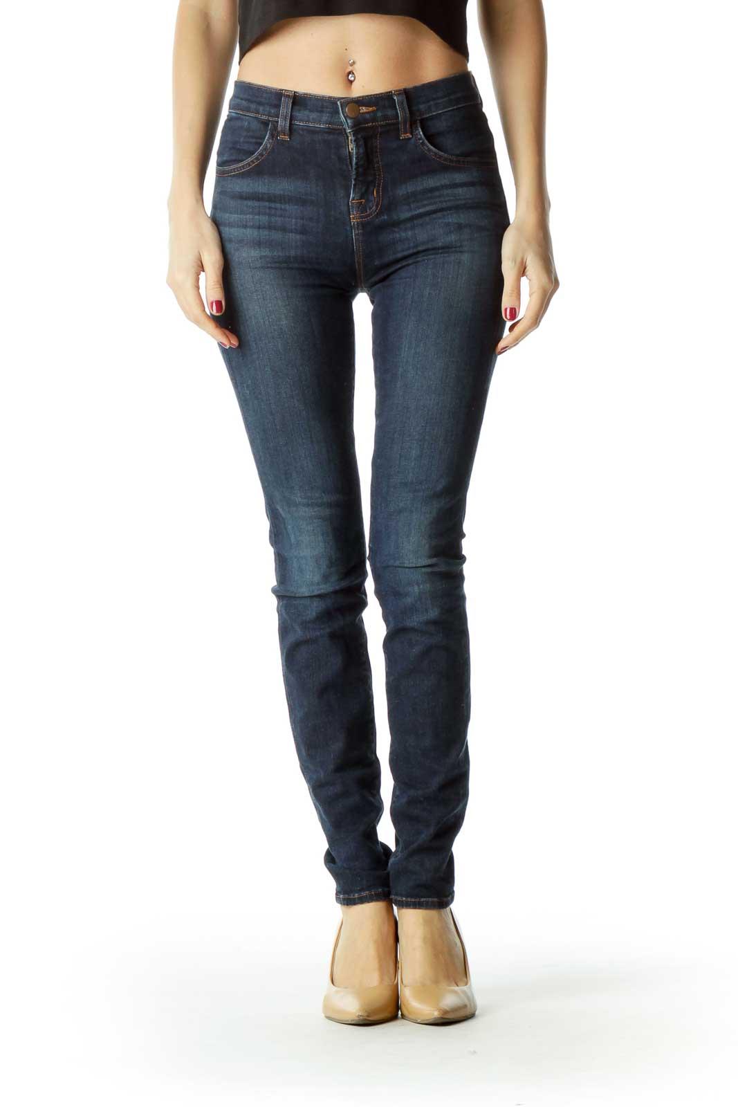 Blue Dark Wash Slim-Fit Denim Pants