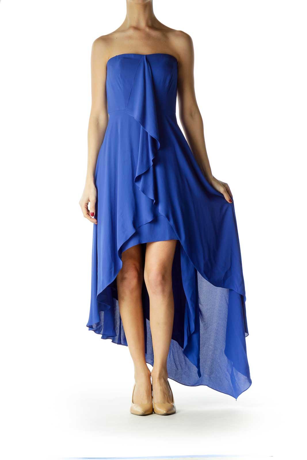 Blue Strapless High-Low Dress
