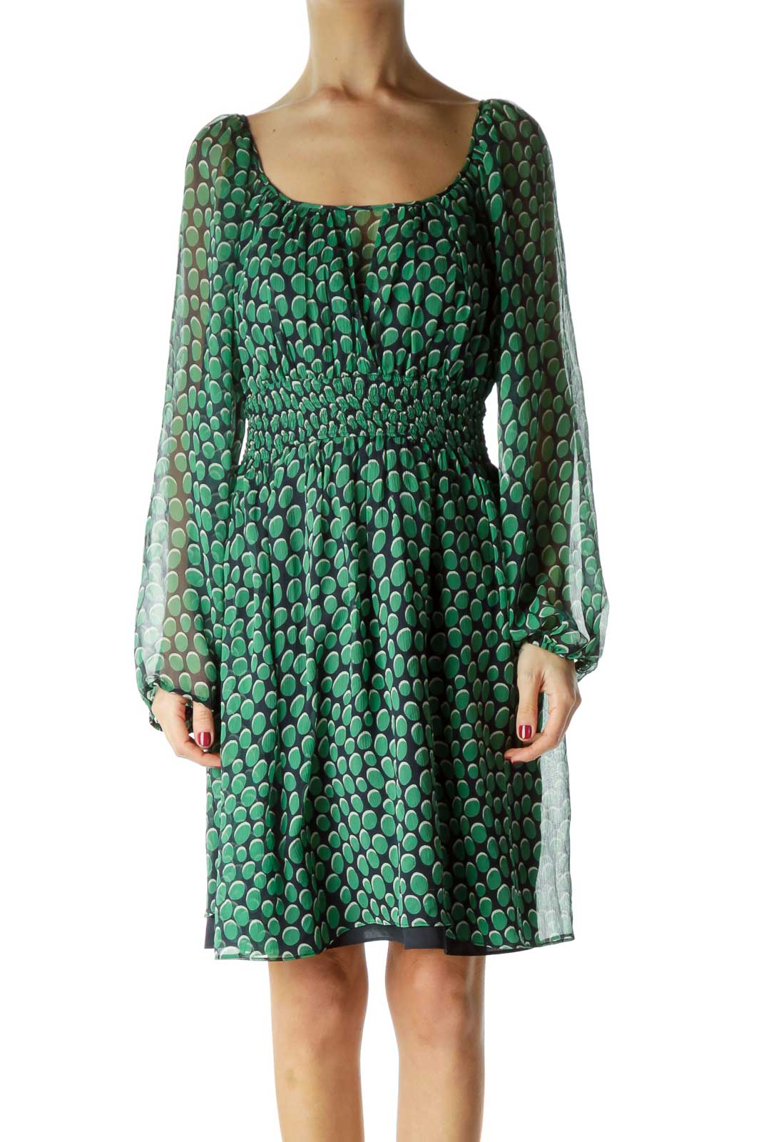 Green Printed Silk Long Sleeve Dress