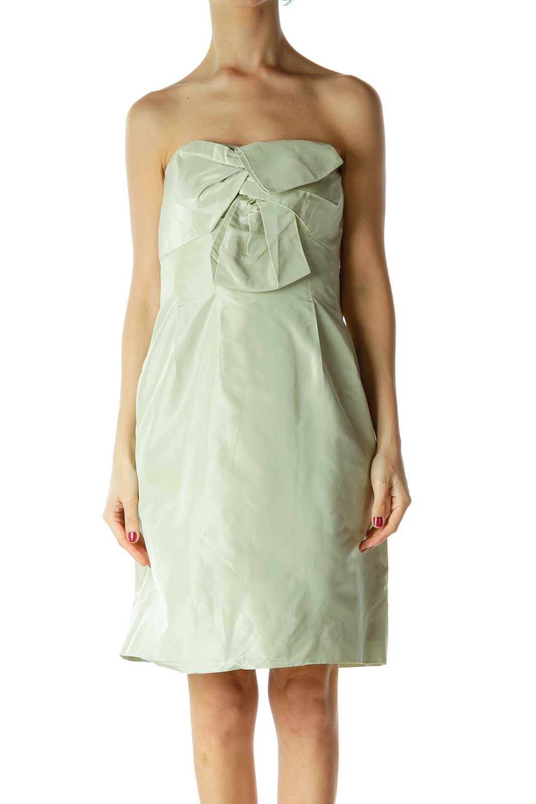 Green Shiny Cocktail Dress with Bow