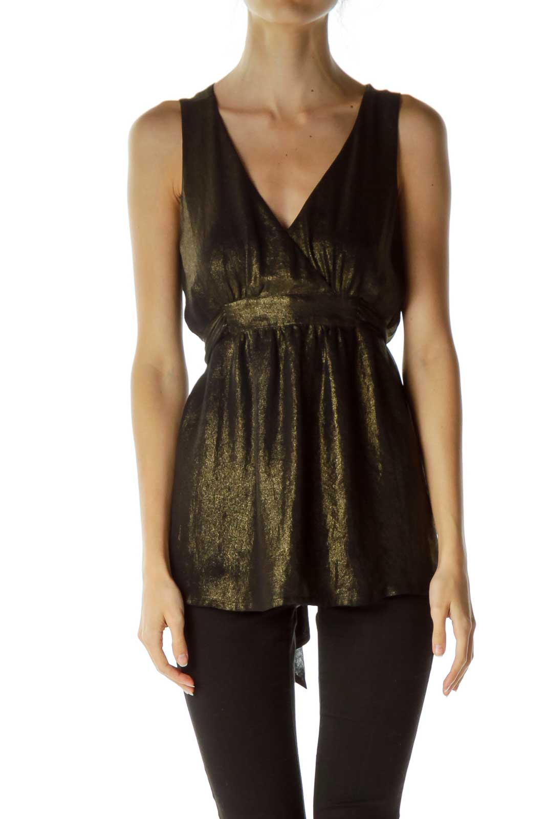 Gold Tie Sleeveless Shirt