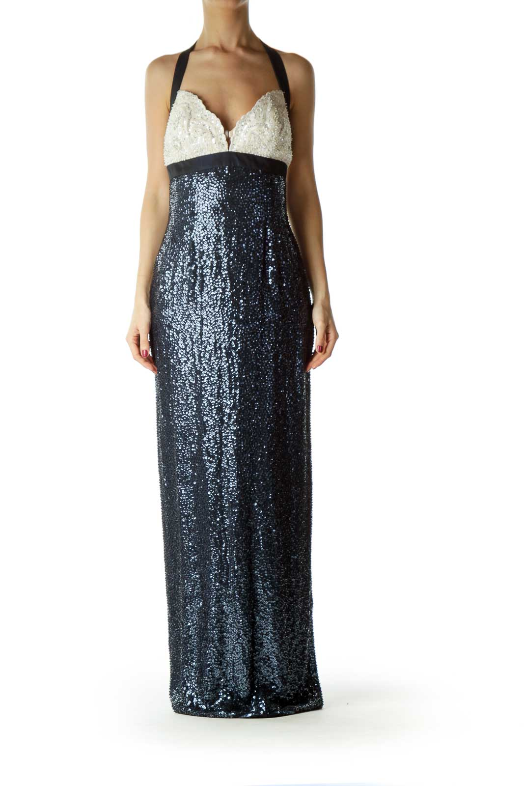 Navy Silk Beaded Evening Dress - NWT