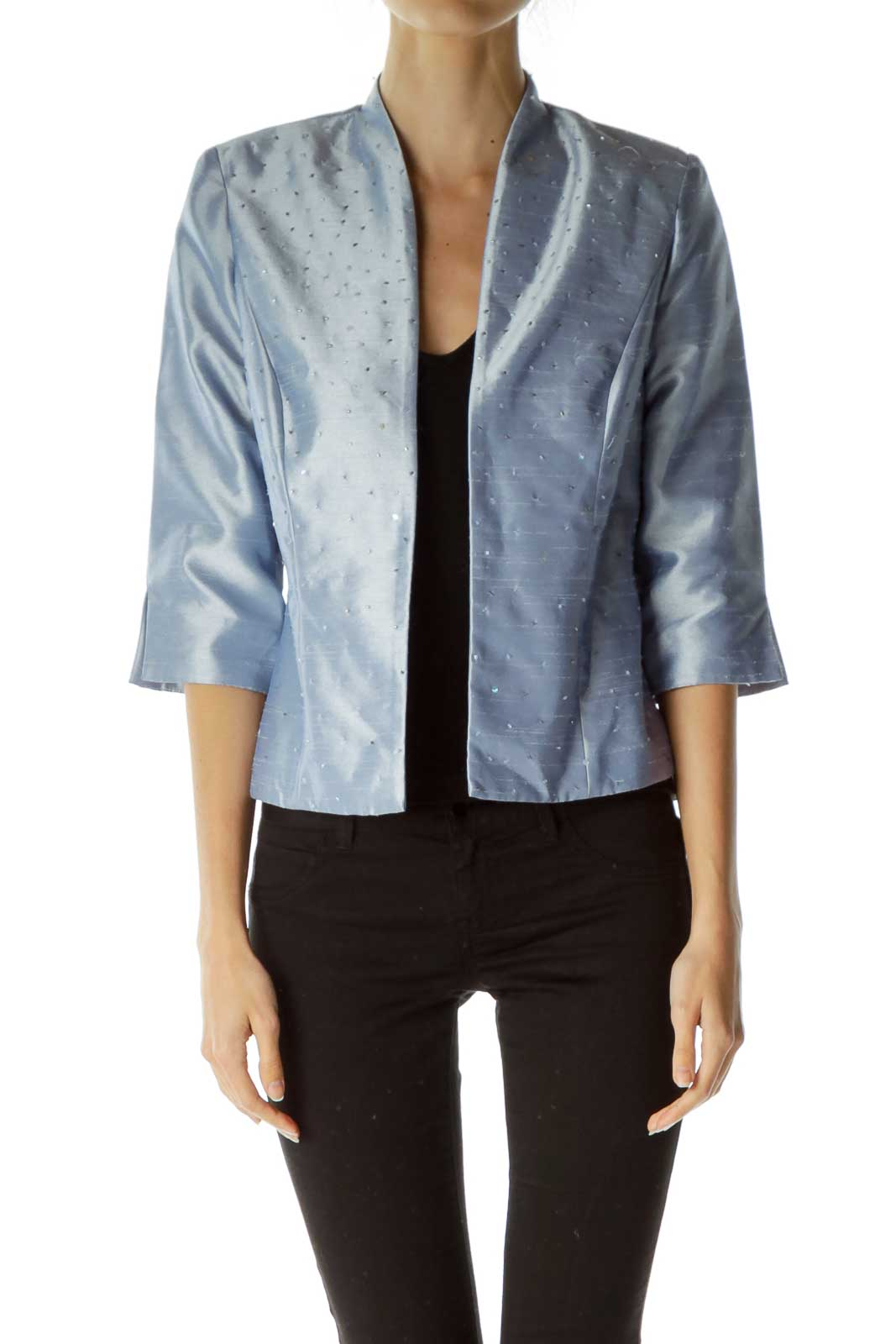 Blue Metallic 3/4 Sleeve Blazer
