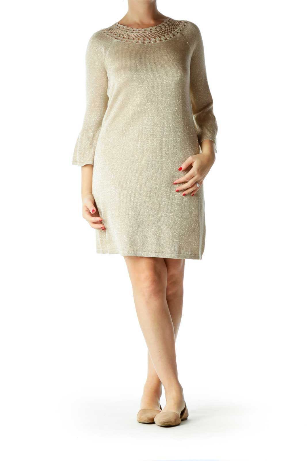 Beige Metallic Bell-Sleeves Knit Dress