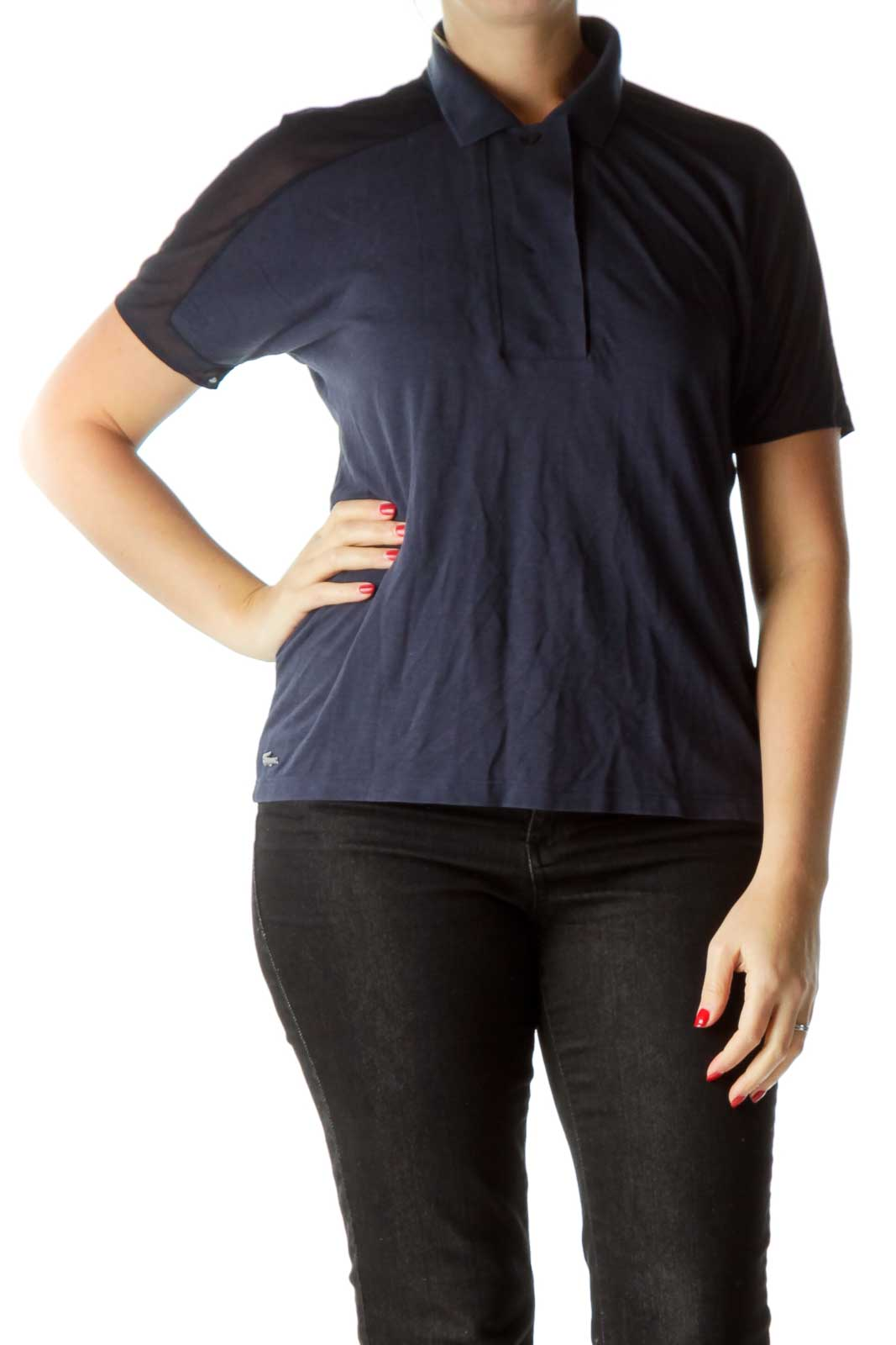 Navy Sheer Back Polo Shirt