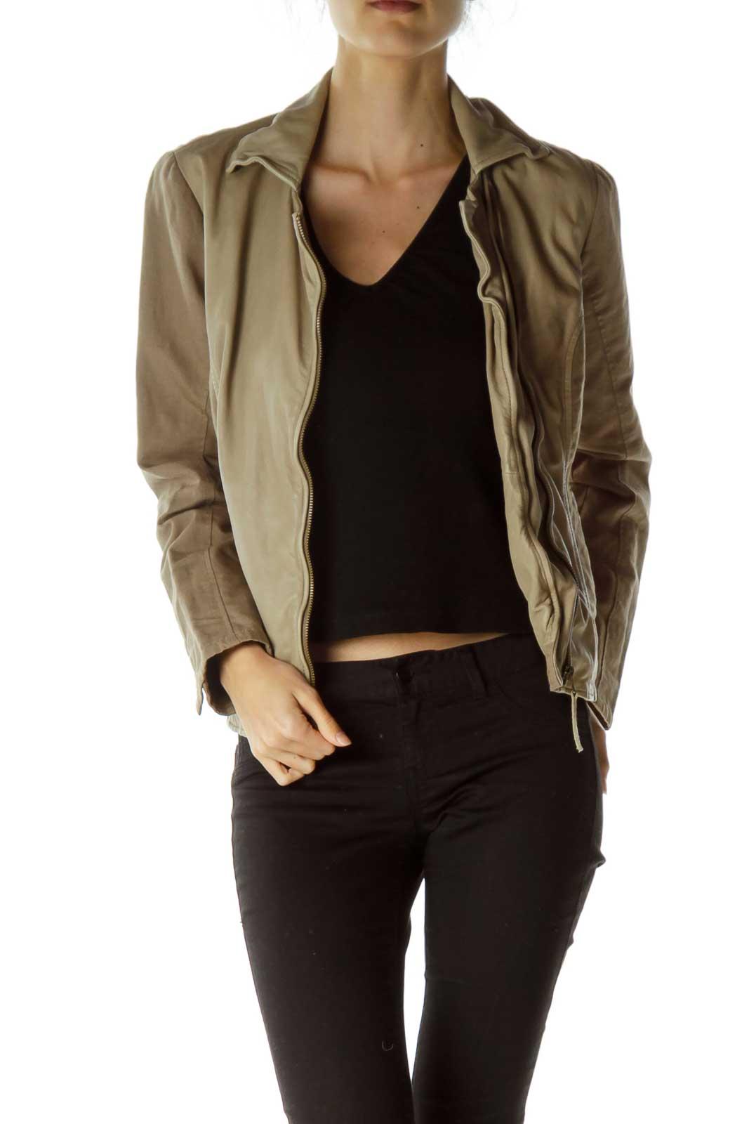 Brown Zipper Down Linen & Leather Jacket