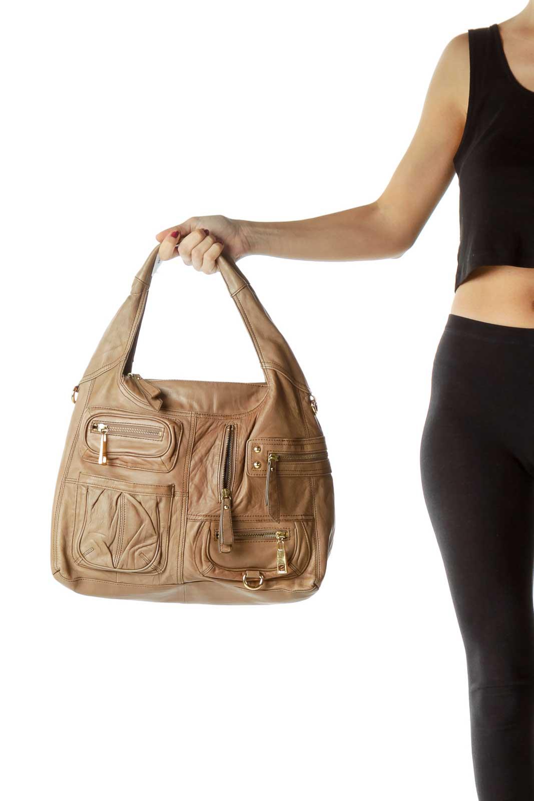 Beige Pocketed Hobo Leather Shoulder Bag