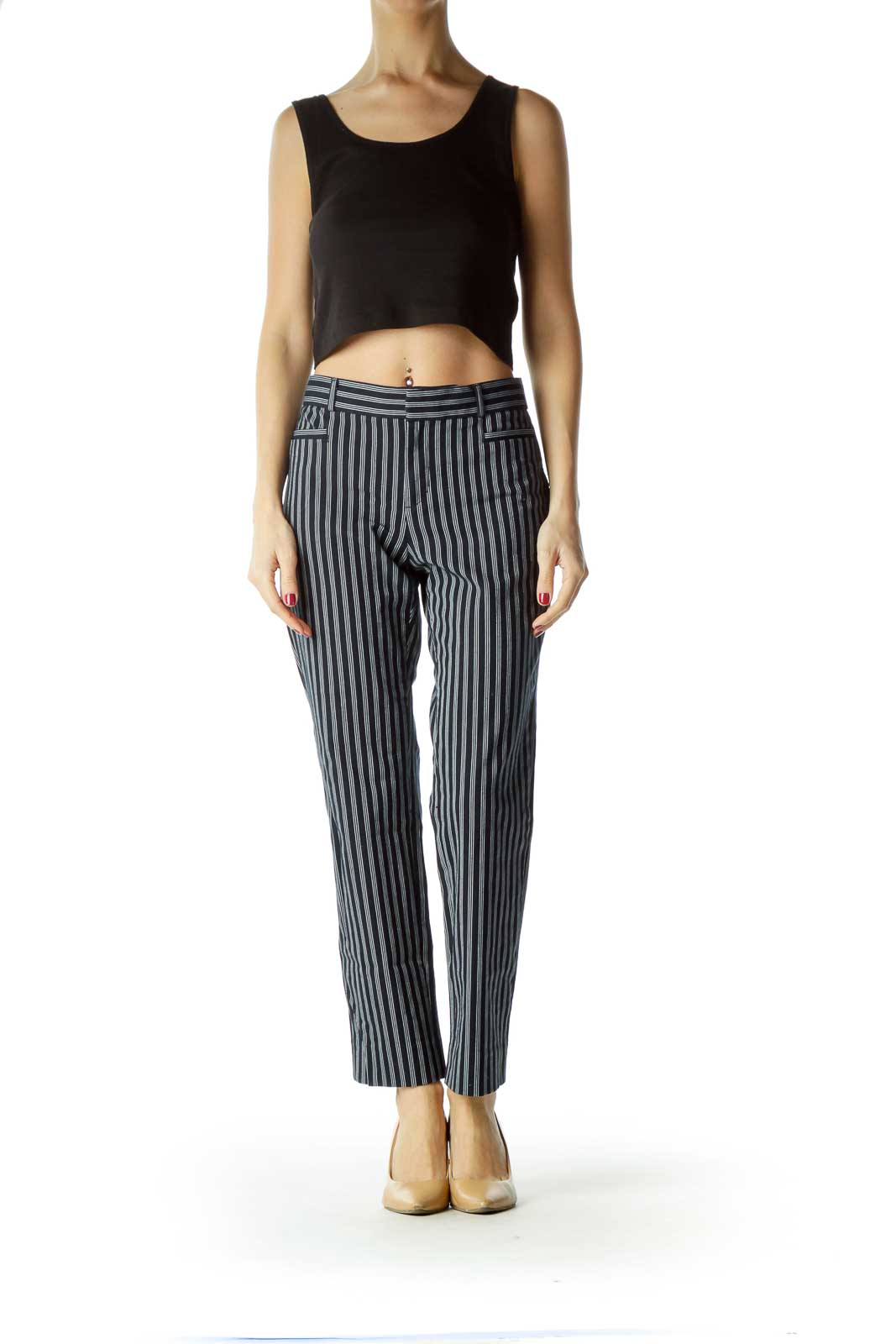 Blue White Pinstripe Straight Leg Pants